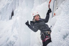 My fearless friend ice climbing (photo courtesy of Kate B.)