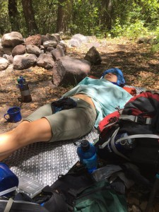 My friend Emika with just a touch of heat exhaustion hiking in the Gila Wilderness of New Mexico